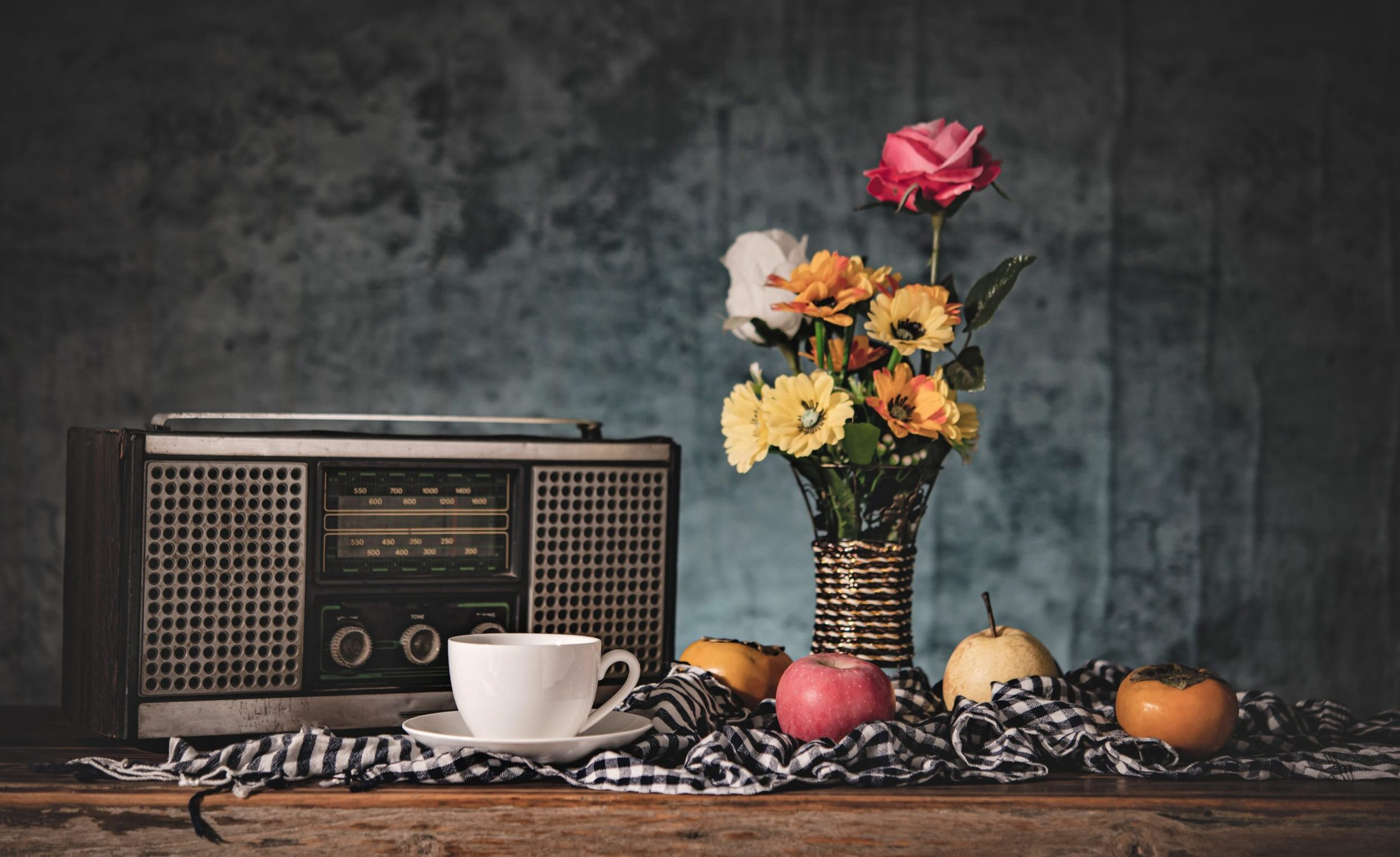 Still Life With Vases, Flowers, Fruit, Coffee Cups And A Retro R